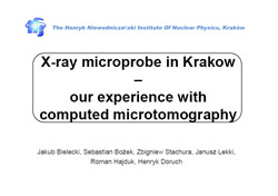 X-RAY MICROPROBE IN KRAKOW - OUR EXPERIENCE WITH COMPUTED MICROTOMOGRAPHY